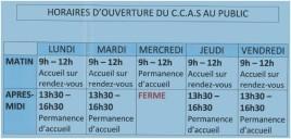 horaires CCAS